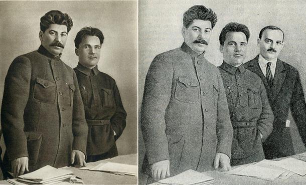 Pa kreisi: Staļins un Kirovs 1926. gadā. Pa labi fotogrāfijā, kas 1948. gadā publicēta PSRS vēstures grāmatā, klāt nācis Augstākās padomes prezidija priekšsēdētājs Nikolajs Šverņiks