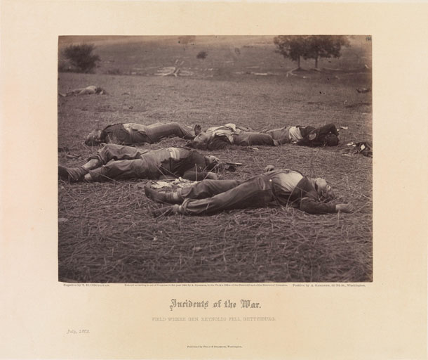 Timotijs O'Salivans (Timothy H. O'Sullivan, 1840-1882). Kaujas lauks, kurā krita ģenerālis Reinolds. Getisberga, 1863. gada jūlijs. Attēls nr. 37 Gārdnera Fotogrāfisko kara skiču grāmatas 1. sējumā.