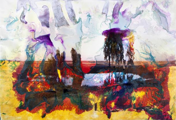 """Metjū Brandts (Matthew Brandt). No sērijas """"Lakes and Reservoirs"""". """"Mary's Lake, MT 9"""", 2012. Krāsainais foto papīrs, izmērcēts Marijas ezera ūdenī. © Matthew Brandt, Courtesy Yossi Milo Gallery, New York"""