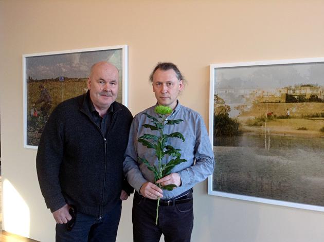 Ivars Runkovskis un Jānis Deinats izstādes atklāšanā. Foto - Arnis Balčus